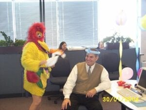 Hire Singing Chicken. Costumed  Balloon Artist