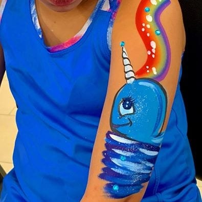 Hire an expert face painter. Wonderful designs for faces, cheek art and body painting. 90 minutes $200